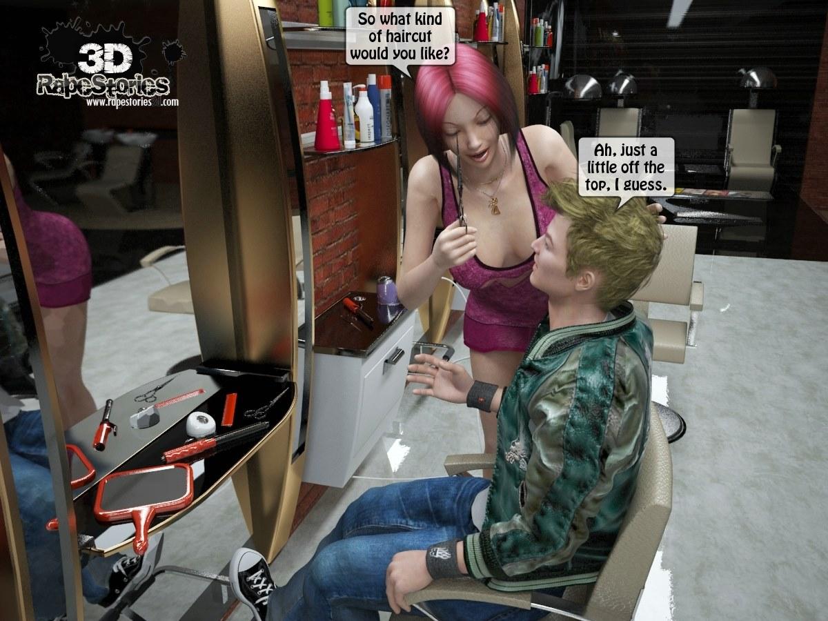 Two boys rape a woman at haircut- 3DStories image 1